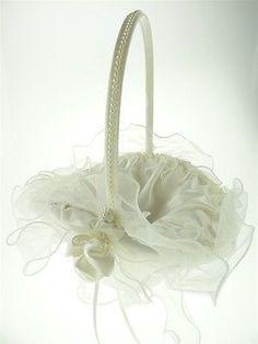 Satin Flower Girl Baskets Wedding Ceremony, 8-inch, Ruffled Organza (Oval), Ivory, CLOSEOUT