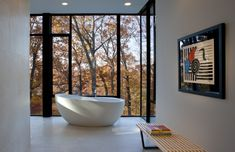 This minimalist bathroom located in Glen Echo, Maryland, offers distant views of the Potomac River.