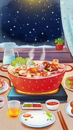 Anime Scenery Wallpaper, Food Wallpaper, Aesthetic Pastel Wallpaper, Desserts Drawing, Anime Bento, Cute Food Art, Cute Food Drawings, Food Menu Design, Food Sketch