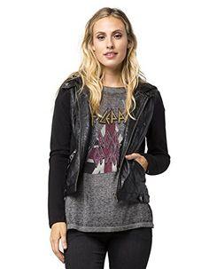 FULL TILT Faux Leather Knit Womens Jacket