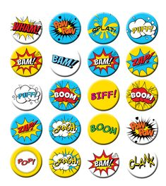 Items similar to Superhero Comic Book Call Outs Words Fight sounds Pin Back Button Party Favors inch Buttons set on Etsy Superhero Baby Shower, Superhero Party, Superhero Bathroom, Comic Book Superheroes, Comic Books, Bible Heroes, Fathers Day Crafts, Printable Designs, Printables