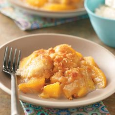 Peach Crumble Dessert Recipe -Old-fashioned, delicious and easy to make describes this yummy dessert. It's wonderful served with ice cream. —Nancy Horsburgh, Everett, Ontario