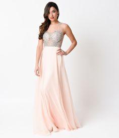 Peach Beaded Mesh Chiffon Illusion Long Dress 2016 Prom Dresses