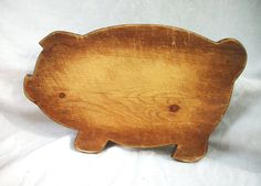 Vintage Wooden Pig Cutting Board ~ Primitive Farmhouse ~ Breadboard ~ Aged…