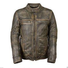 Ebay LeatherFort Distressed-Wax-Men-039-s-Biker-Vintage-Style-Cafe-Racer-Motorcycle-Leather-Jacket