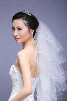 Romantic Bridal Veil With Beads Cheap 2015 Wedding Tulle Veil 5 Layers Elbow Length Beaded New Arrival Bridal Veils For Weddings #dhgatePin