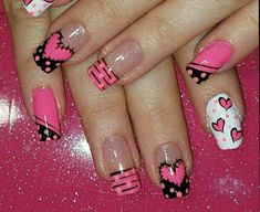 easy valentine's day nail art ideas nail designs; Diy Nails, Cute Nails, Valentine Nail Art, Toe Nail Designs, Nail Decorations, Fabulous Nails, Creative Nails, Holiday Nails, Simple Nails