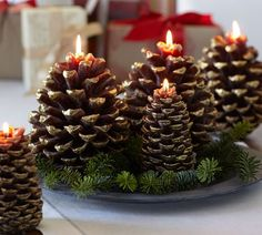 pinecone candle.