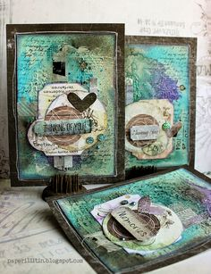 Cold Country cards by Riikka Kovasin for 7 Dots Studio Atc Cards, Card Tags, Mix Media, Card Making Inspiration, Making Ideas, Card Creator, Mixed Media Cards, Mixed Media Scrapbooking, Beautiful Handmade Cards