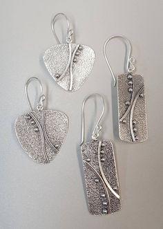Silver Jewelry Box, Metal Clay Jewelry, Glass Jewelry, Wire Jewelry, Silver Ring, Metal Jewelry Handmade, Metal Jewelry Making, Sterling Silver Earrings, Beaded Jewelry