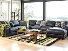 'Festival' Leather Corner Lounge Suite with Chaise