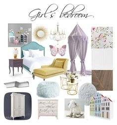 girl's bedroom by veryvlada on Polyvore featuring interior, interiors, interior design, дом, home decor, interior decorating, Redford House, PBteen, Barclay Butera and Paper Whites