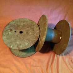 Large Vintage Industrial Wooden Spools, 2 eaches