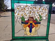 The Diego Rivera Flower Vendor Leaded Stained Glass Window Panel can be custom made to any size or colors you need for your specific project. Stained Glass Church, Custom Stained Glass, Stained Glass Panels, Leaded Glass, Stained Glass Art, Diego Rivera, Door Glass Replacement, Glass Installation, Window Panels