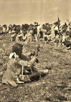 Horn Weasel talking in sign language on the Fort Belknap Reservation in Montana - Assiniboine - 1906