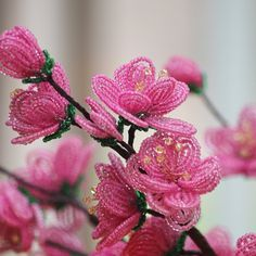 French beaded flowers, Cherry blossoms, free tutorial, Bead Flora Studio, Bead Flora and Jewels, Fen Li