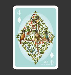 52Aces - playing cards by 52 illustrators. The four of diamonds is illustrated by Cape Town resident Bia van Deventer