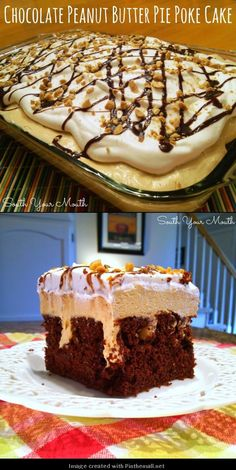 Chocolate Peanut Butter Pie Poke Cake