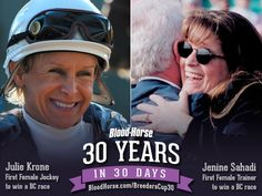 30 Years in 30 Days: To date only three women have conditioned Breeders' Cup-winning horses, and only two female jockeys have crossed the wire first aboard a Breeders' Cup winner. Like trailblazers in any industry, the first female trainer and first female jockey to win Breeders' Cup races hold places in racing history. #30yearsin30days #BC13