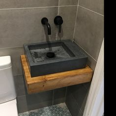 Corner Sink Bathroom Small, Small Sink, Black Bathroom Sink, Bathroom Sinks, Washroom, Concrete Sink Bathroom, Concrete Basin, Bamboo Bathroom, Aberdeen