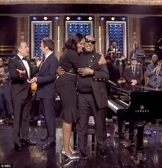 First Lady Michelle Obama was left teary-eyed after Stevie Wonder serenaded her with a special medley of his hits on The Tonight Show starring Jimmy Fallon on Wednesday in her final TV appearance.