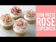 Gum Paste Rose Cupcakes – Top of your cupcakes with this beautiful gum paste rose. Icing Flowers, Gum Paste Flowers, Buttercream Flowers, Fondant Flowers, Sugar Flowers, Cake Flowers, Fondant Rose, Fondant Cakes, Cupcake Cakes