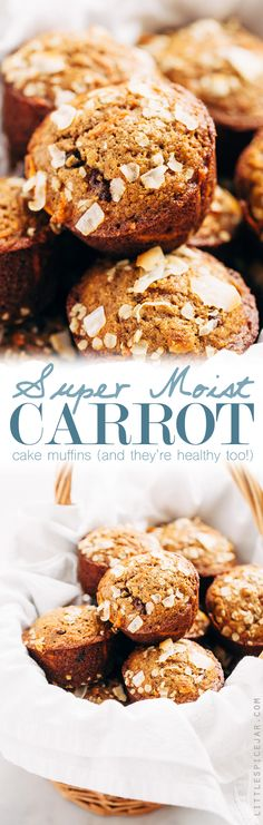 Super Moist and Healthy Carrot Cake Muffins - Made with less sugar than traditional muffins and packed with greek yogurt and apple sauce so there isn't a dry crumb in sight! #carrotcake #carrotcakemuffins #muffins #healthy | Littlespicejar.com