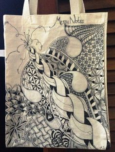 """Tangled Tote by Meredith Yuhas who """"used pentel gel roller, identipen, fabirco cool gray, and copicN0 and N2 for shading. About 4 hours."""""""