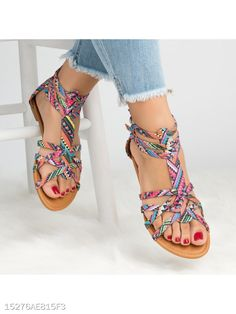 Lady Casual Sandals Shoes Plus Size Women Bohemia Colorful Summer Gladiator Flat Ankle Strap Sandals Shoes Flat Gladiator Sandals, Ankle Strap Sandals, Sandal Heels, Ankle Shoes, Strappy Sandals, Sneakers Fashion, Fashion Shoes, Sneakers Style, Women's Sneakers