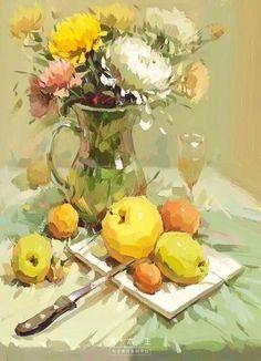 Светлана Пилюгина Painting Still Life, Still Life Art, Paintings I Love, Beautiful Paintings, Gouache Painting, Painting & Drawing, Art Floral, Guache, Fruit Art