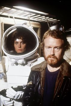 """Sigourney Weaver, Ridley Scott on the set of """"Alien"""" Directed by Ridley Scott. Behind the scenes photos."""
