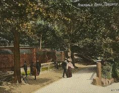 Riverdale Park and The Zoo Cages Vintage TORONTO postcard – A Day at the Park with the Children Visiting the Zoo