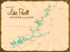 Lake Powell Map - Metal Sign