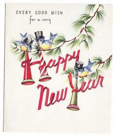 vintage bluebirds with horns and top hats happy new year greeting card
