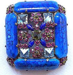 SCHREINER Blue, Fuschia & Green Art Glass & Floral Brooch. Unsigned