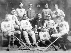 Forty years ago, Paul Henderson scored the goal that won the iconic 1972 Canada-Russia game. We've been at this game a long time, eh? These lads, from the Simcoe Hockey Club, were the 1899 winners of the Lacrosse Hockey League Championship. Go team! Hockey Games, Hockey Mom, Hockey Sweater, Old Scool, Canadian Things, Canadian History, Winter Sports, Lacrosse, Vintage Men