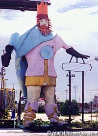 King Neptune, formerly Sir Loin, of Panama City Beach, FL. He was always standing there when I was a kid. Unfortunately, he was torn down in 2004.