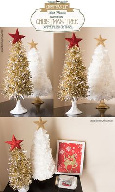 DIY Christmas Tree / Coffee Filter - Tinsel