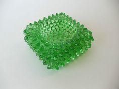 Vintage Green Depression Glass English Hobnail Open Salt Cellar