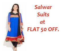 Salwar Suits at Lowest Online Price : Flat 50% Off on PRINTS AND WEAVES- Salwar Suits - Best Online Offer