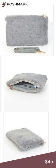 Fluffy side clutch Gray clutch 10w 6.75 h 1d Polyurethane. Faux fur Bags Clutches & Wristlets