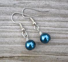 Dark Blue Pearls . Earrings . Merelani Designs