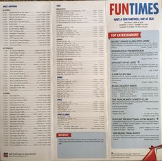 Sample of FUNTIMES daily itinerary on Carnival Breeze