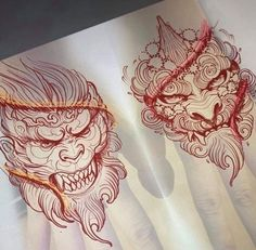 No photo description available. Japanese Hand Tattoos, Japanese Tattoo Designs, Tattoo Sketches, Tattoo Drawings, Body Art Tattoos, Demon Tattoo, Samurai Tattoo, Foo Dog Tattoo, Mythology Tattoos