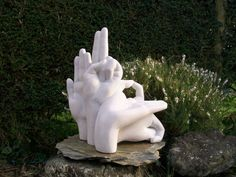 Portland stone Carved Stone, Marble, Alabaster, Soap Stone #sculpture by #sculptor Nicola Axe titled: 'Yoga Mudra II' #art