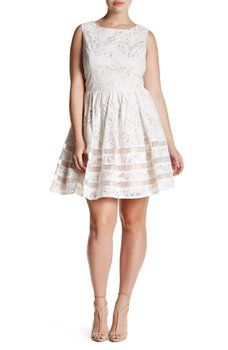 ece137abd01 Eliza J - Shadow Stripe Lace Fit   Flare Party Dress (Plus Size ...
