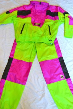 SOLUS Ski Suit NEON Green Vintage 80s 90s RETRO Winter SNOW PANTS & COAT M #Solus