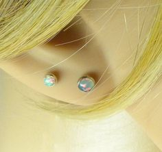 natural opal post earrings 4mm by LoveStoneArts - second piercing