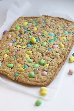 These Easter Bunny Blondies are full of Easter candy. This last-minute Easter dessert is a one bowl recipe with no stand mixer needed!