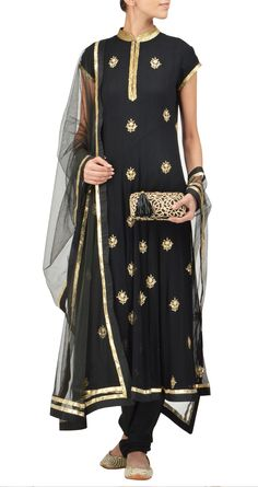 Amrita Thakur - Black pure chiffon panelled kurta set with zari pitta embroidered bootis all over. It comes with a net dupatta and a crepe churidaar.